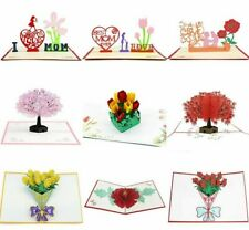 Greeting Cards 3D Pop Up Carnation Flowers Bouquet Birthday Card Gifts