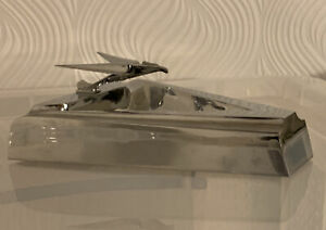 American Art Deco Chrome Ashtray BCM WDC Stylised Flying Eagle