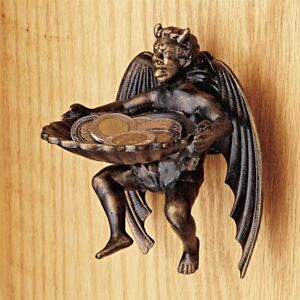 Devil is in Details Cast Iron Distressed Aged Demon Home Wall Mount Shell Dish