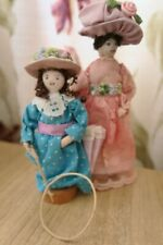 Folk Art WOODEN DOLLY PEGS Victorian Lady and Daughter with Hoop