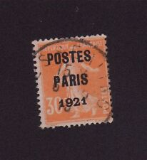 PREO 029 N°29 30 C ORANGE TYPE SEMEUSE CAMEE POSTE PARIS 1921
