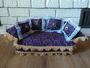 Beautiful 1/6 Scale Handmade Paisley Doll Couch - Barbie Sized