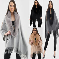 Ladies Womens Faux Fur Collar Fluffy Winter Shawl Wrap Poncho Cape Warm Cardigan