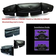 Windshield Bag Tri Pouch 3 Pocket For Harley Touring Electra Street Glide 96-13
