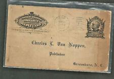 1907 Us postal reply card Sheridan Durham to Greemsboro Nc Van Noppen Publisher