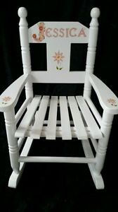 Children's wooden personalised rocking chair hand painted with name & message