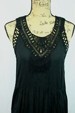 Anthropologie Mermaid Maxi Dress Size Medium Macrame Neckline Full Length Sheath