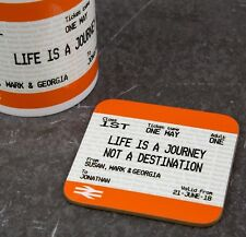Personalised Graduation Gift Coaster- Train Ticket Style Print - Fun Present