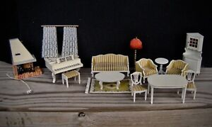 Lundby dollhouse royal lounge dining room piano lighted fireplace lot of 12