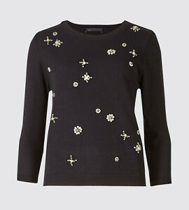 NWT M&S Marks and Spencer Collection Pearl Embellished Round Neck Jumper 12 Navy