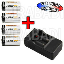 "CHARGEUR ""RAPIDE"" + 4 PILES BATTERIES RECHARGEABLE CR123A 16340 LI-ION 3600mAh"