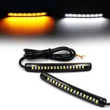 2x Flexible 17 LED Strip Amber White Light Turn Signal Indicator Motorcycle