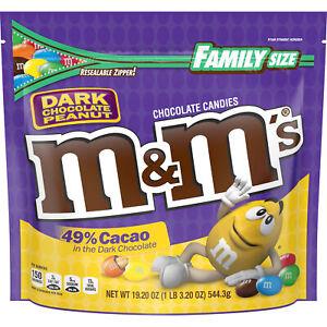 Family Size Dark Chocolate Peanut M&M's Chocolate Candies 19.2oz