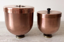 Two Antique Copper Ice Cream Bombe or Dessert Moulds 1 & 2 Pints