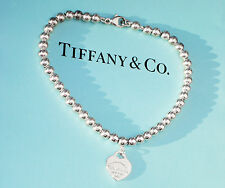 Tiffany & Co Argento Sterling Return To Tiffany Cuore Tag Bracciale Perline 4mm