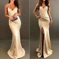 Women V-Neck Backless Split Slit Sexy Ball Gown Maxi Party Bodycon Evening Dress