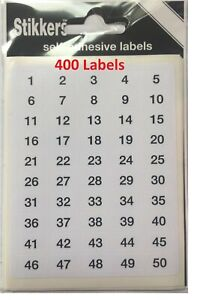 400 Sticky Numbered Labels 1 - 200 Self Adhesive Stickers Number Labels WHITE