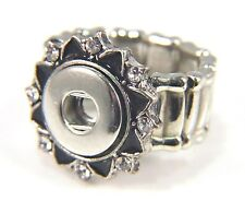 Noosa Style Chunks Ring Base Mini Snap On Jewellery Button Charms Black 12mm