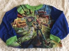 Toy Story Boys Woody Buzz Lightyear Blue Green Fleece Long Sleeve Pajama Shirt 6