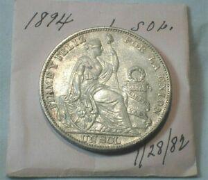 1894 Lima Peru Silver Un Sol from Old Estate KM# 196.26 (#44)