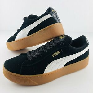 Puma Vikky Platform Womens Shoes Sneakers Black Gold Suede US 7 Trainers Runners