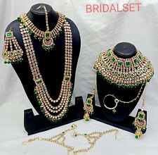 Indian Bridal Green Stone Choker Necklace Earring Bollywood Jewelry Set