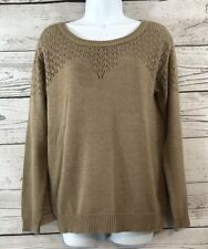 Staccato Size M Tan Scoop Neck Sweater Open Knit Top Beige Brown Women's Medium