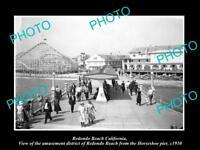 OLD LARGE HISTORIC PHOTO OF REDONDO BEACH CALIFORNIA THE AMUSEMENT PARK c1910