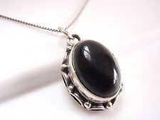 Black Onyx Necklace 925 Sterling Silver Rope Style Decorated Perimeter