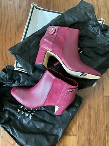 White House Black Market Leather And Suede Ankle Booties Brynn Dark Sangria 7