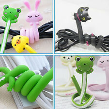 2X Kawaii Animal Earphone Wrap Cord Wire Cable Holder Winder Organizer L5r