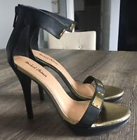 Michael Antonio Womens Open Toe Ankle Strap Heels Black Gold Zipper Size 7.5