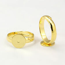 4 Adjustable Ring Blanks Gold Settings Brass with Pad Glue on Rings 8mm Pad