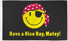 Pirate Happy Face 3X5' Flag New Jolly Roger Smiley Have A Nice Day, Matey!