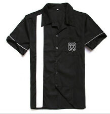 Male Vintage Route 66 Rockabilly Bowling Black Shirts 50s Embroidery Button