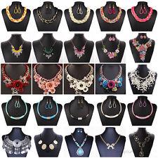 Women Charms Pendant Crystal Pearls Jewelry Choker Chunky Statement Bib Necklace