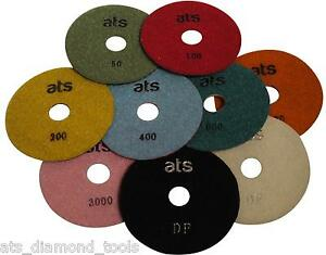 "125mm (5"") ATS Premium Professional WET Diamond polishing pads Granite Marble"