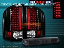 2007-2013 CHEVY SILVERADO TAIL LIGHTS LED BLACK NEW SMOKE 3RD BRAKE STOP LIGHT