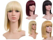 """New Women Ladies Unisex Hair Longer Length Full Fringe Bob Full Head Wig 12"""""""