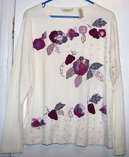 Bechamel Beige Raised Quilted Patch Work Embroided Scoop Neck Long Sleeve Sz XL
