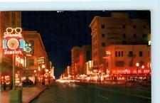 SACRAMENTO, CA California ~ K STREET SCENE at NIGHT -NEON c1950s  Postcard