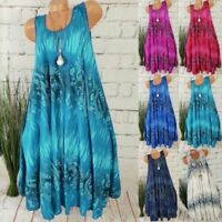 Womens Boho Summer Midi Dress Holiday Beach Sleeveless Baggy Swing Sundress