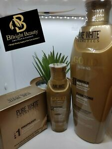 Pure White Cosmetics Gold Glowing Lotion Set(lotion 400ml,oil 100ml,soap 150g
