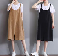 Women Girl Cotton linen Overalls Bib Dress Pinafore Suspender Skirt Loose Casual