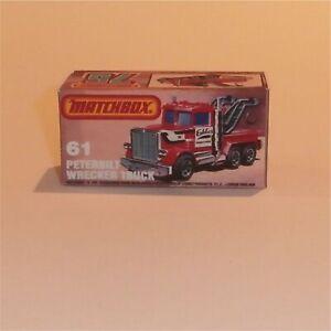 Matchbox Superfast 61 e Peterbilt Wreck Truck Empty Repro K Style Box