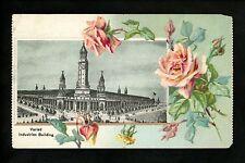 St. Louis World's Fair 1904 postcard Indsutries Bldg. Flower border