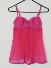 Women's Victoria's Secret Sexy Little Things Pink Lace Sheer Babydoll Size 34B