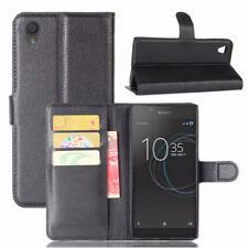 Custodia FLIP cover eco pelle NERA per Sony Xperia L1 case stand + tasche