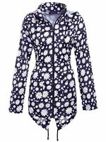 Ladies Light Waterproof Hooded Zip Daisy Rain Coat Jacket Cagoule Sizes XS-XXL