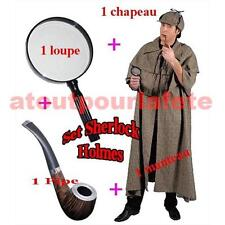 Set 4 PIECES Sherlock Holmes,Cape,Manteau,Coiffe,Pipe,Loupe,Carnaval,Déguisement